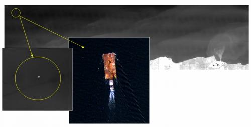 Boat tracking on Lake Ontario: Boats can be identified in the thermal IR due to the thermal/aquatic phenomenology - this enables responders to detect a boat and zoom in for identification using high spatial resolution RGB cameras