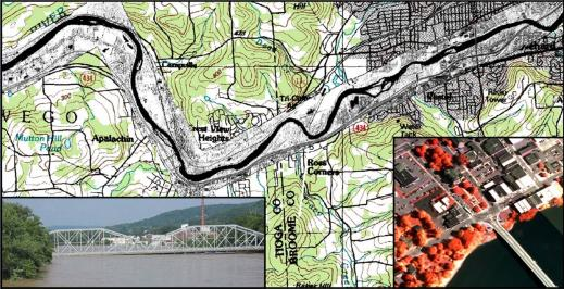 Flood mapping: The Susquehanna river (Binghamton, NY) flooded its banks in 2006 - the WASP system was able to map 44 linear miles in two hours
