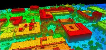 Lidar over RIT's campus: Point-cloud lidar data collected over an urban area. Algorithms are required to extract building structures, map evacuation routes, etc.