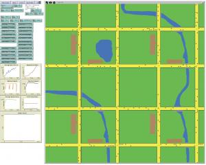 Screen Capture of entire Agent-Based Model of Site Evacuation showing landscape, input control GUIs and output plots