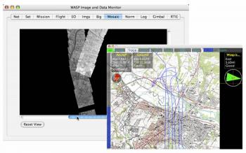 Real-time data: Real-time image download (top-left) and flight tracking (top-right) from the WASP system via an RF-downlink