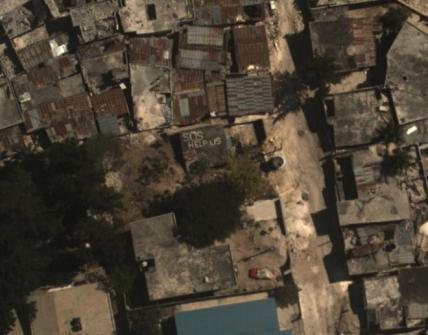 WASP image over Haiti that captures the need for a rapid response: This image is a zoom-in to a portion of the image on the left.