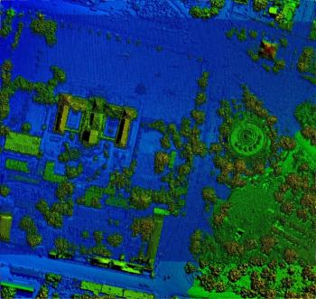 LiDAR data over the Haitian palace: This LiDAR coverage of the presidential palace shows the first LiDAR returns. Different colors depict different heights